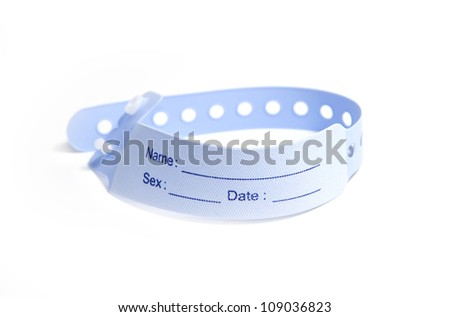 hospital wrist tag on white background