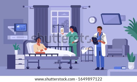 Hospitalized Patient Lying in Hospital Bed. Medical Staff Visiting him. Nurse Setting Up Dropper. Doctor Checking Medical Chart. Hospital Room with Modern Equipment. Flat Cartoon Illustration.