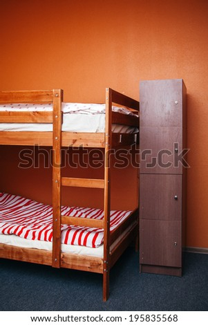 Hostel room with city view. Color room. Bright interior