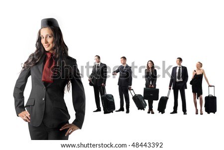 Hostess and group of young business people on the background