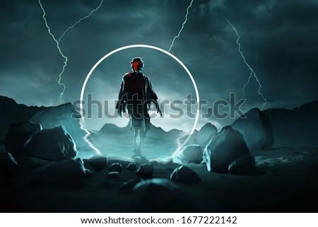 Hostile Arrival. A futuristic spaceman arrives onto a stormy planet surface. Conceptual 3D illustration.