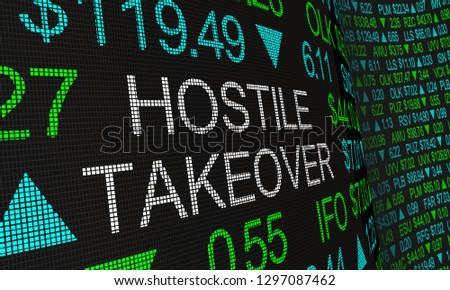 Hostile Takeover Share Buyout Stock Market Ticker Words 3d Illustration Photo stock ©
