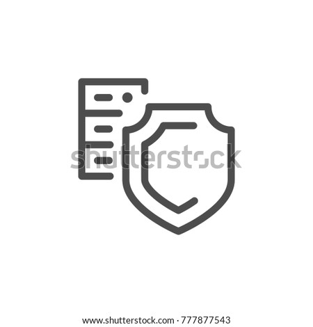 Hosting security line icon isolated on white