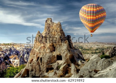 Hot air balloon above a gorgeous landscape
