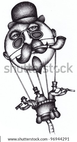Hot air balloon as Jules Verne, French Science, Fiction Writer