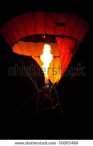 Hot air balloon at night - stock photo