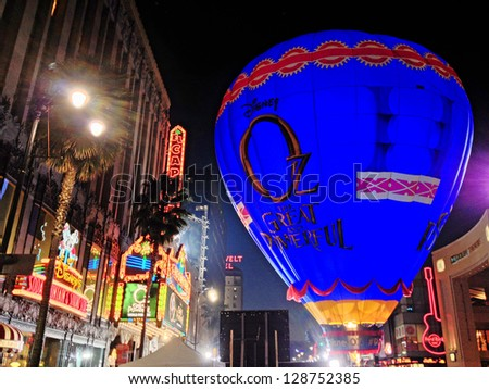 """Hot air balloon at the world premiere of Disney's """"Oz: The Great and Powerful"""" at the El Capitan Theatre, Hollywood. February 13, 2013  Los Angeles, CA Picture: Paul Smith"""