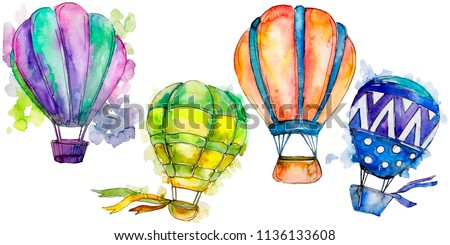 Hot air balloon background fly air transport illustration. Isolated illustration element. #1136133608