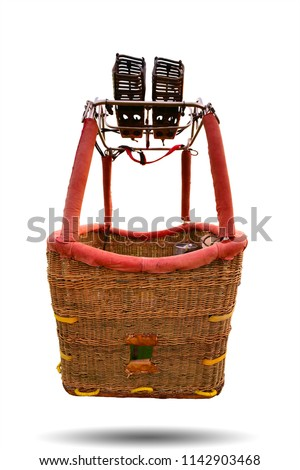 Hot air balloon basket isolated on white background. This has clipping path. #1142903468