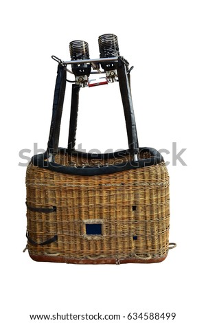 Hot air balloon basket isolated on white background. This has clipping path. #634588499