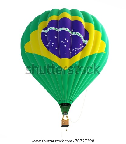 hot air balloon brazil flag isolated on a white background