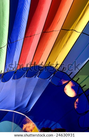 Hot air balloon close up with flame