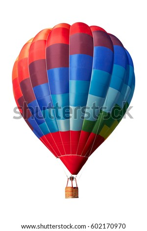 Hot air balloon, colorful aerostat isolated on white, clipping path included