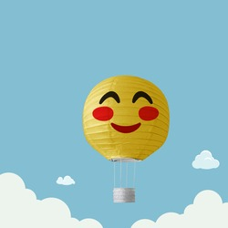 hot air balloon Emoji Emoticon flying with clouds on sky, traveling concept, Cute smiling emoticon