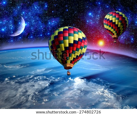 Hot air balloon fairy tale landscape fantasy moon earth. Elements of this image furnished by NASA.