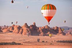Hot Air Balloon Festival over Mada'in Saleh (Hegra) ancient site, Al Ula, Saudi Arabia. was taken in 2020 Mar 18