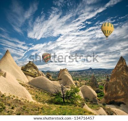 Hot air balloon flight over spectacular Cappadocia