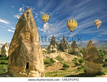 Hot air balloon flight over spectacular Cappadocia