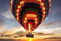 Hot air balloon flight sunset