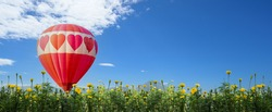 Hot air balloon flying at the natural park and garden. Travel in Thailand and Outdoor adventure activity. Heart shape for Valentines Day.