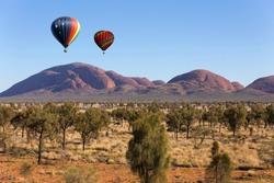 Hot air balloon flying in Northern Territory, Australia