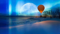 Hot air balloon flying over frozen lake with spectacular Northern lights - Northern lights (Aurora borealis) in the sky over Tromso, Norway