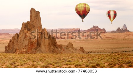 Hot Air Balloon Flying Over New Mexico Desert Landscape
