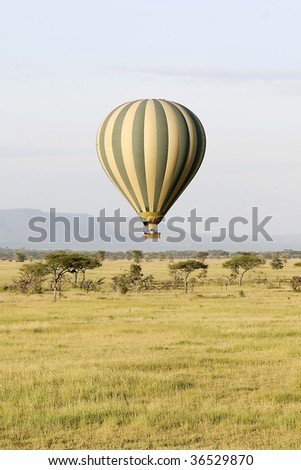 Hot air balloon flying over Serengeti National Park, Tanzania