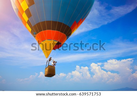 hot air balloon flying over the ...