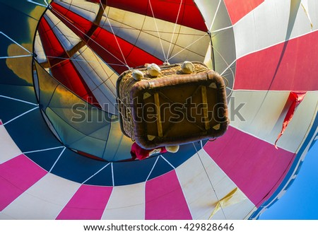 Hot-air balloon flying, unusual perspective view from bottom, detail