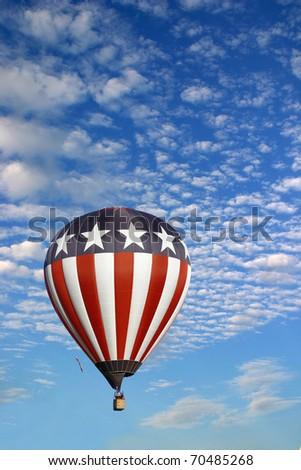 Hot Air Balloon in a Beautiful Cloudy Sky