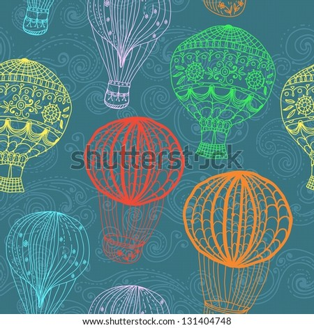 hot Air Balloon in sky, hand drawn seamless Background for Design - stock photo