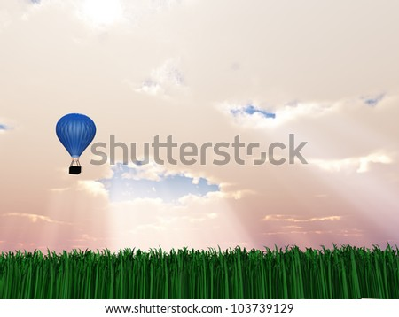 Hot Air Balloon in Sky with God Rays