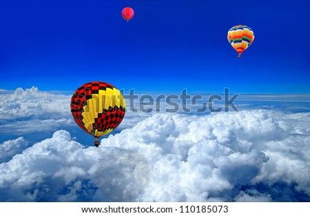 Hot air balloon in the blue sky