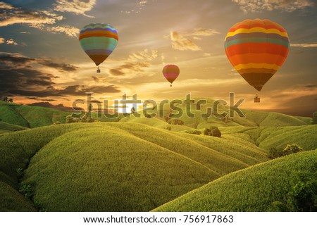 Hot air balloon in the sky sunset background for design - Shutterstock ID 756917863