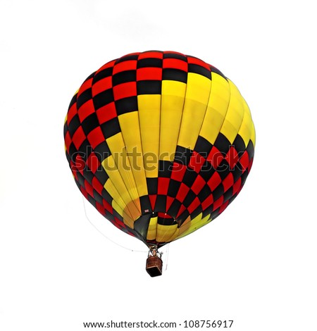 Hot air balloon isolated white background