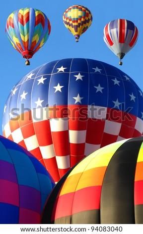 Hot Air Balloon Launch, Balloon Fiesta Albuquerque, New Mexico - stock photo