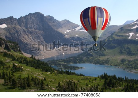 Hot Air Balloon Looking Down on Montana Landscape