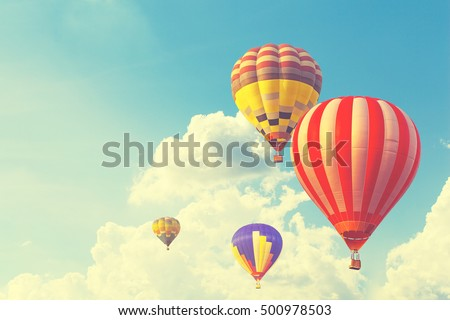 hot air balloon on sun sky with ...