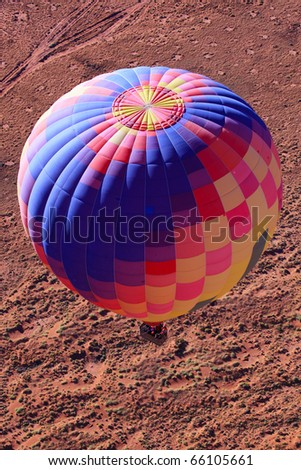 Hot air balloon over Monument Valley , Utah, USA