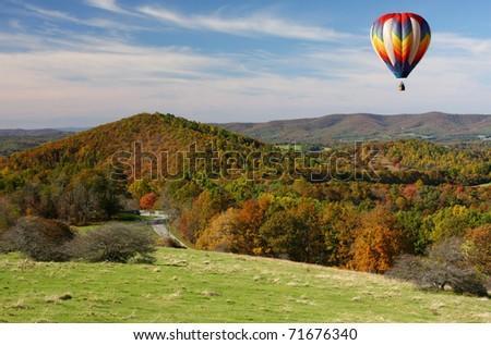 Hot Air Balloon Over the Blue Ridge Parkway, Autumn