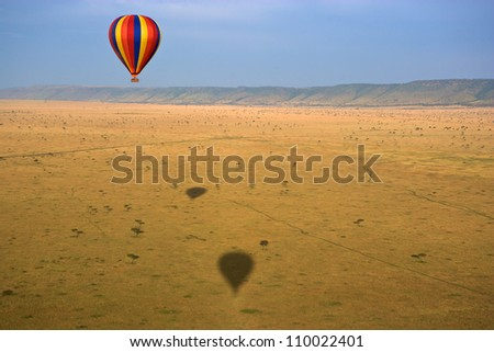 Hot air balloon over the Masai Mara National Reserve, Kenya, Africa