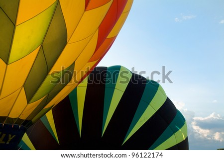 Hot Air Balloon preparing for flight at sunset in Vermont