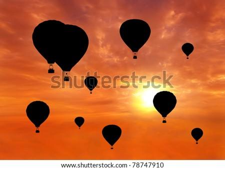 hot air balloon racing during sunset