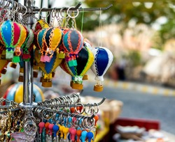 Hot air balloon souvenirs selling on turkish market