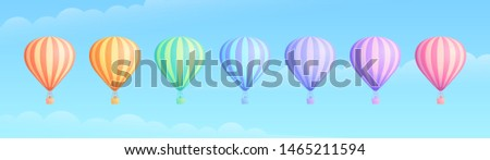 Hot air balloon travel adventure illustration set. White cloud on summer blue sky, collection of rainbow colors hot air balloons or airships for sale banner promotion. Clipping mask applied.
