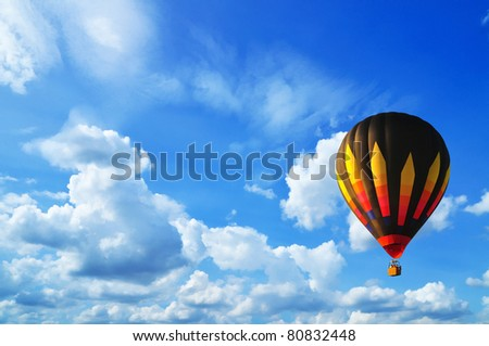Hot air balloon with blue sky in Thailand.
