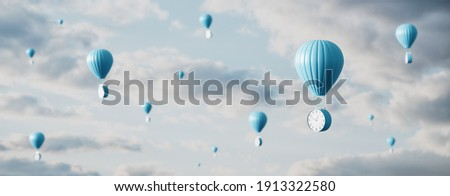 Hot air balloon with clock flies in the sky. Time Flies Concept background 3D render 3D illustration