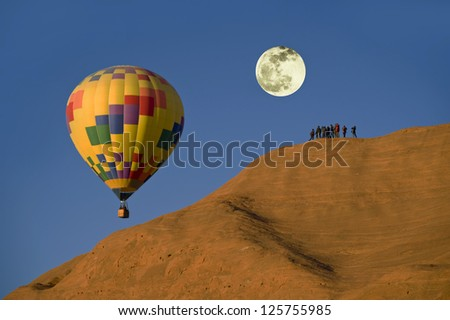 Hot Air Balloon With Full Moon.