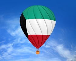Hot air balloon with Kuwait Flag in blue sky with cloud.